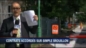 """""""Contrats accordés sur simple brouillon"""" à Outremont. Un reportage d'Yves Poirier de TVA Nouvelles."""